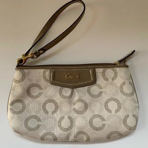 Coach Bag Wristlet Ashley OPArt Khaki Beige F48053